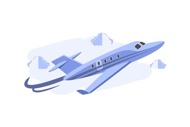 Cartoonist 3d jet flugzeug Premium Vektoren
