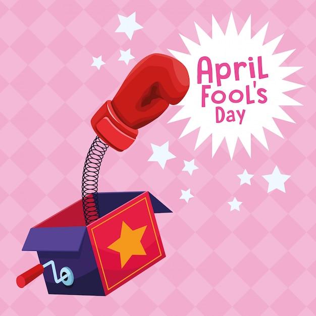 Cartoons mit aprilscherzen Premium Vektoren