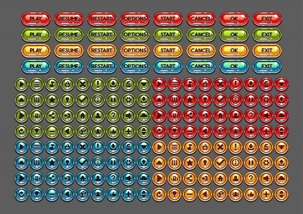 Cartoony glossy buttons zum erstellen von videospielen Premium Vektoren