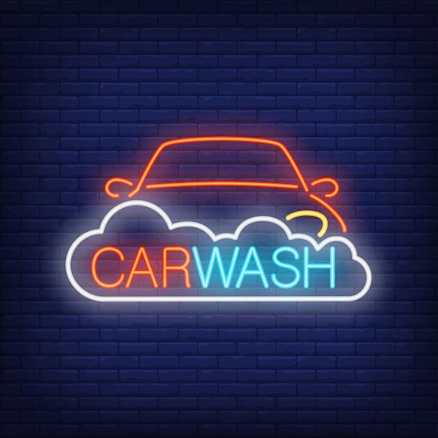 Carwash-neon-text, auto und schaum. leuchtreklame, nacht helle werbung Kostenlosen Vektoren