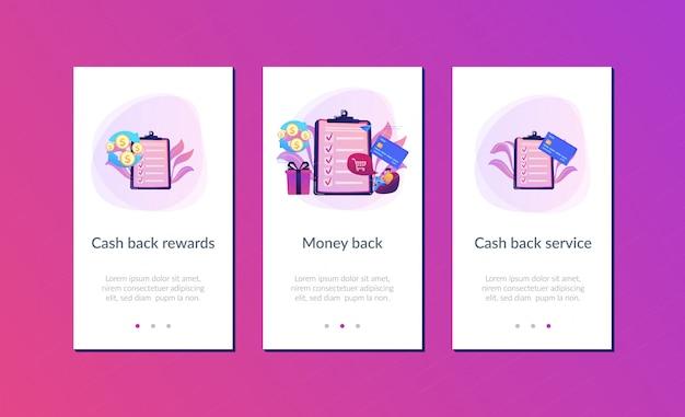 Cashback-app-interface-vorlage Premium Vektoren