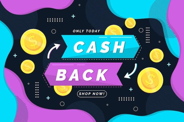 Cashback banner vorlage mit münzen illustriert Kostenlosen Vektoren