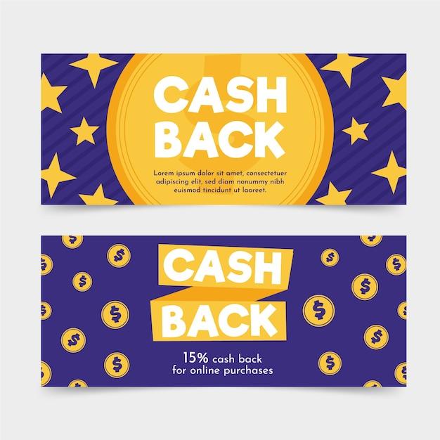 Cashback banner web template mit sternen und münzen Kostenlosen Vektoren