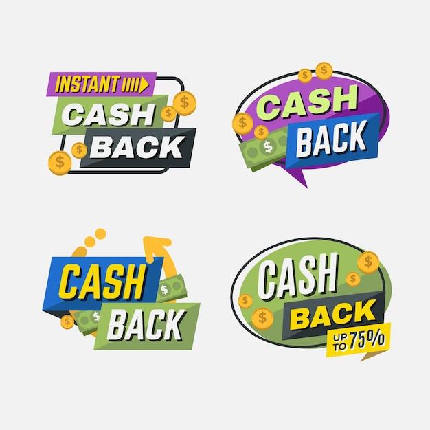 Cashback bietet sammlungsetiketten an Kostenlosen Vektoren
