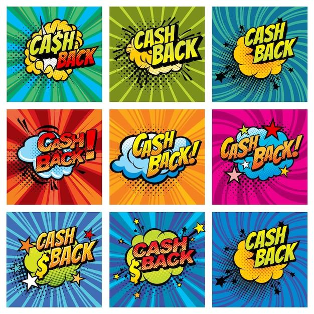 Cashback-comic-blasen Premium Vektoren