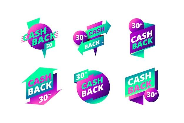 Cashback-etiketten gesetzt Kostenlosen Vektoren