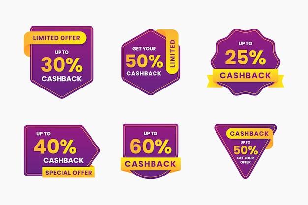 Cashback-etikettensammlung mit rabatten Kostenlosen Vektoren