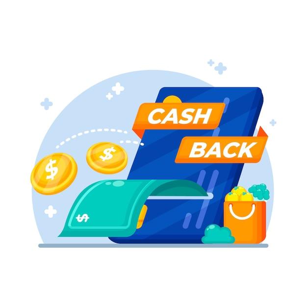 Cashback-konzept mit banknote und münzen Kostenlosen Vektoren