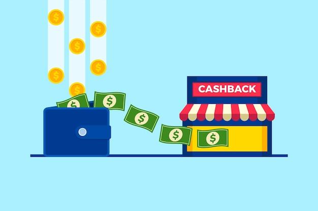 Cashback-konzept mit geldbörse und geld Kostenlosen Vektoren