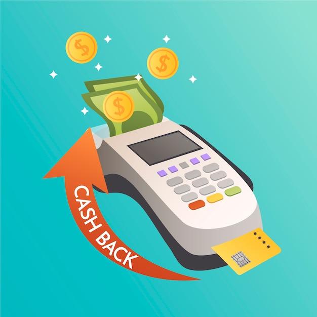 Cashback-konzept mit pos Kostenlosen Vektoren