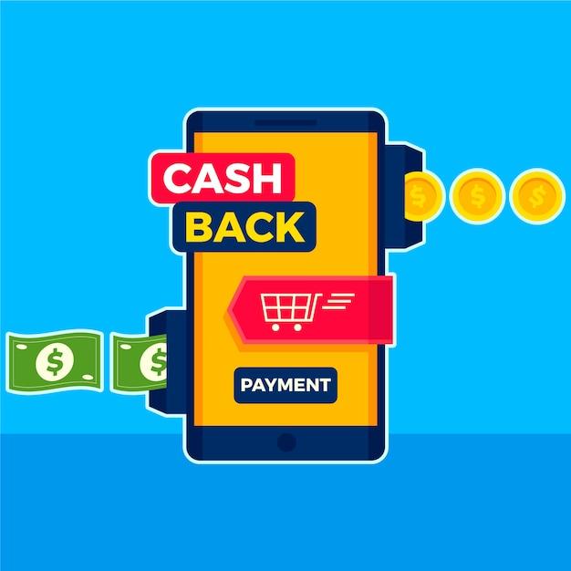Cashback-konzept mit smartphone und banknoten Kostenlosen Vektoren