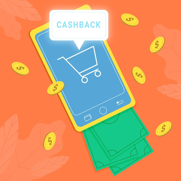 Cashback-konzept mit smartphone Kostenlosen Vektoren