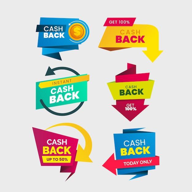 Cashback-label-sammlungsstil Kostenlosen Vektoren