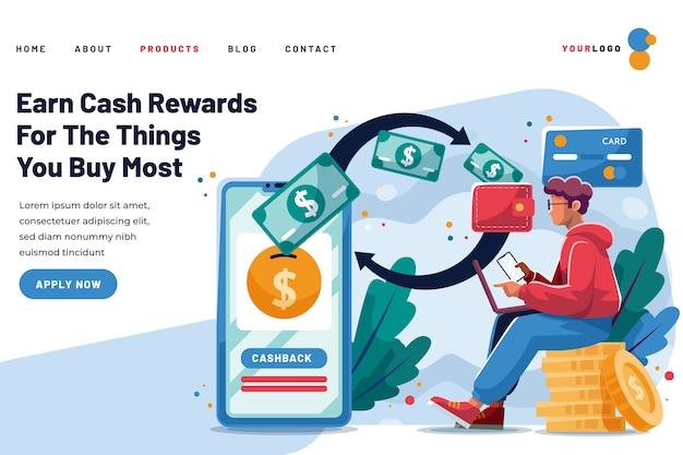 Cashback-landingpage verdient belohnungen Kostenlosen Vektoren