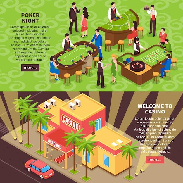 Casino 3d horizontale banner Kostenlosen Vektoren