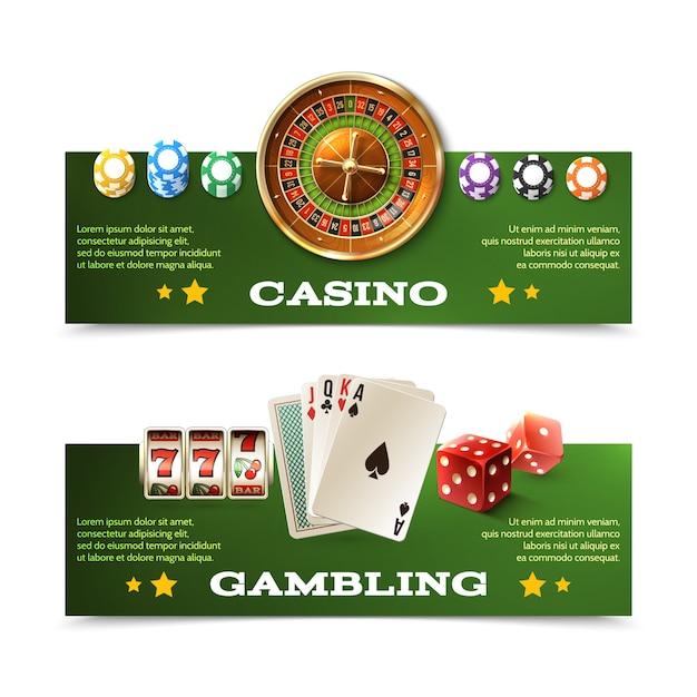 Casino banner eingestellt Kostenlosen Vektoren