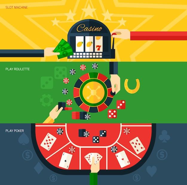 Casino-banner-set Kostenlosen Vektoren