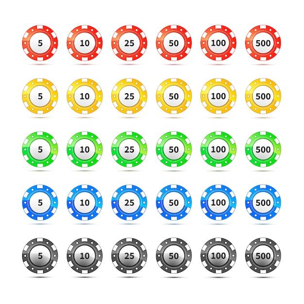 Casino-chips auf weiß Premium Vektoren