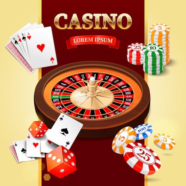 Casino-design-elemente mit roulette-rad, chips, craps und spielkarten. Premium Vektoren