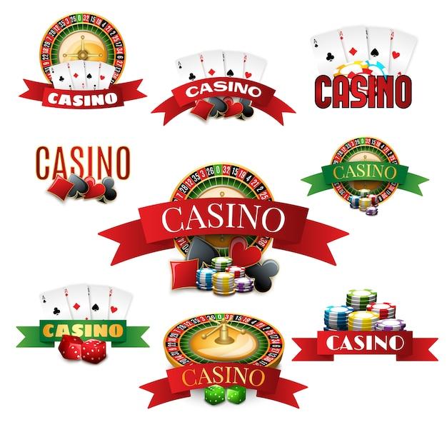 Casino-embleme gesetzt Kostenlosen Vektoren