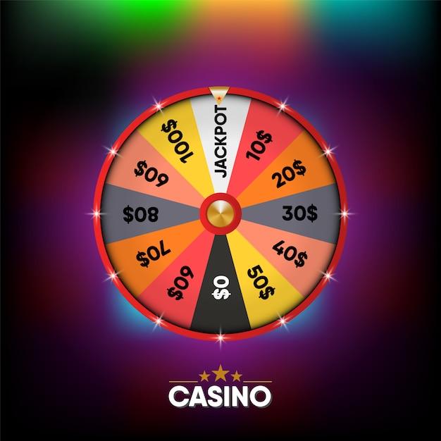 Casino gambling banner realistischer 3d-hintergrund, bunt von roulette online gamble graphic signboard. Premium Vektoren