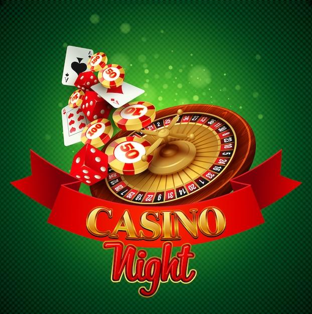 Casino hintergrund mit karten, chips, craps und roulette. Premium Vektoren