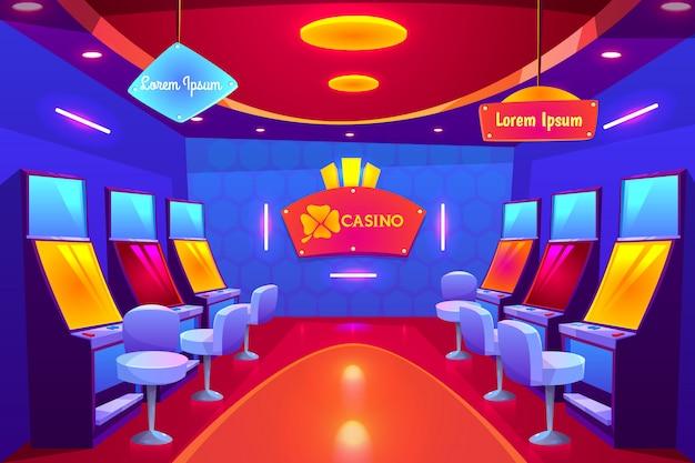 Casino interieur, leere spielbank mit spielautomaten stehen in roh und beleuchtung. Kostenlosen Vektoren