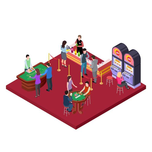 Casino interieur mit isometrischem barbereich Premium Vektoren