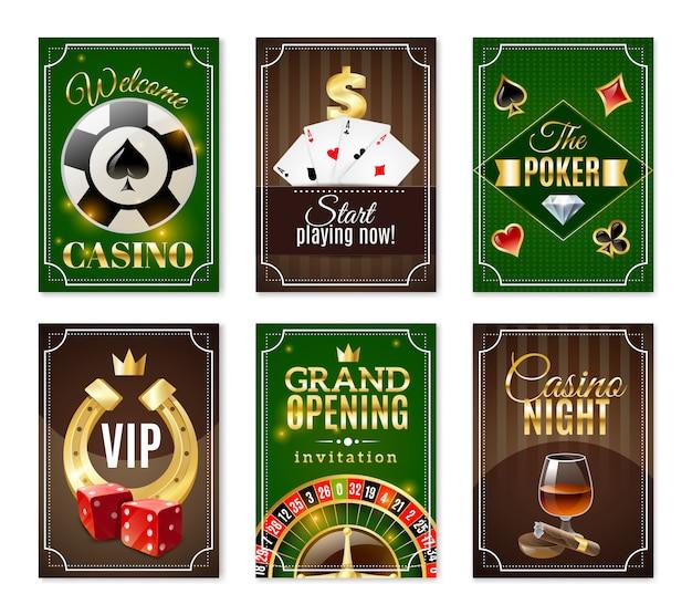 Casino karten mini poster banner set Kostenlosen Vektoren