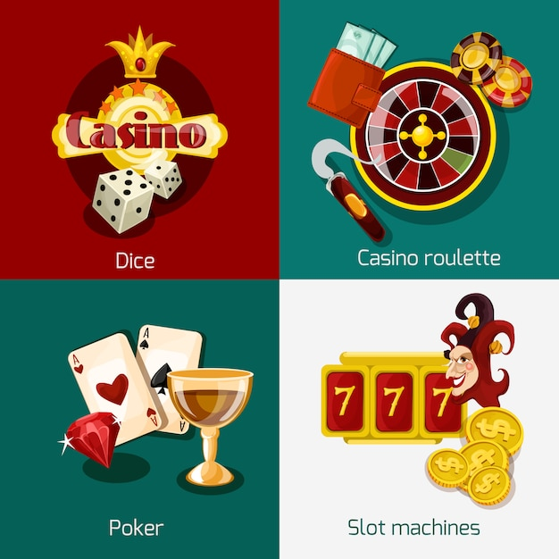 Casino-konzept festgelegt Kostenlosen Vektoren