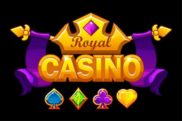 Casino logo mit goldener krone und schatz. königlicher glücksspielhintergrund mit edelsteinspielkartensymbolen. Kostenlosen Vektoren