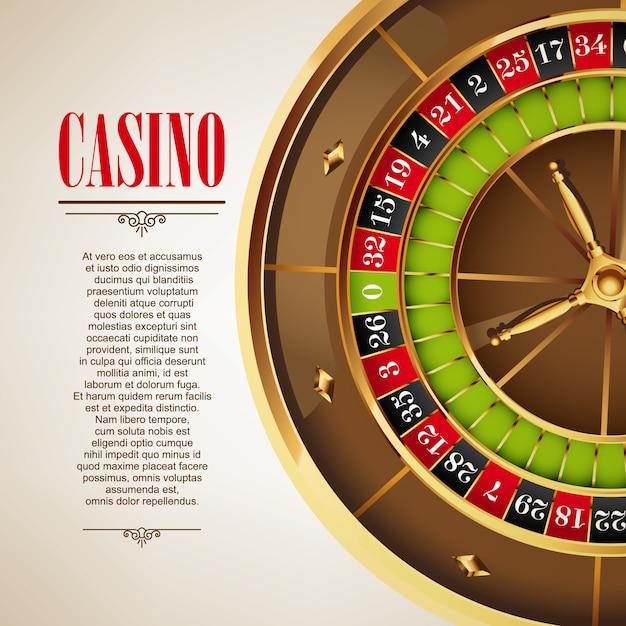 Casino logo poster hintergrund oder flyer. casino-einladung oder banner-vorlage mit roulette-rad. spieldesign. casino spiele spielen. vektor-illustration Premium Vektoren