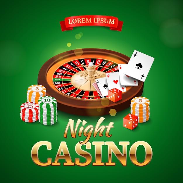 Casino mit rouletterad, chips, spielkarten und würfeln Premium Vektoren
