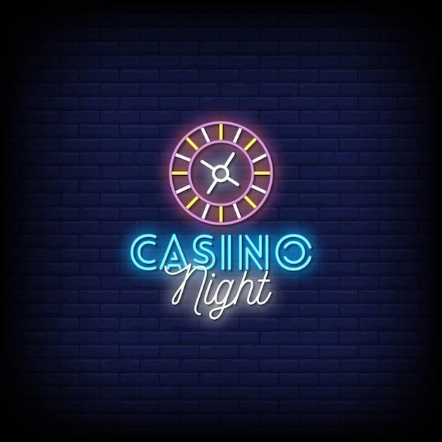 Casino nacht neonschilder stil text Premium Vektoren