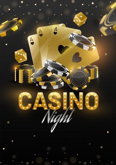 Casino night banner vorlage oder flyer design mit goldenen spielkarten, würfel und poker-chips Premium Vektoren