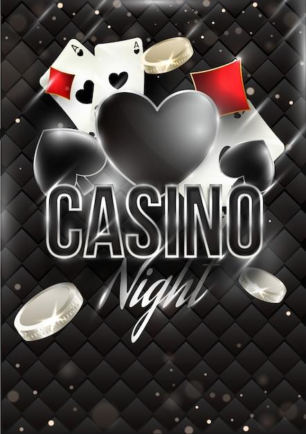 Casino night banner vorlage oder flyer design mit spielkarten und münzen Premium Vektoren
