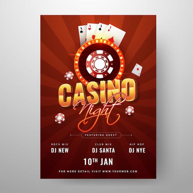 Casino night party template oder flyer design mit poker verziert Premium Vektoren