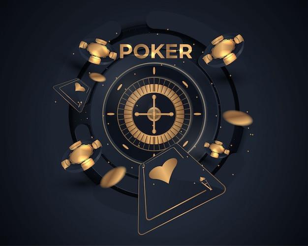Casino-poker-karte und roulette-rad-design Premium Vektoren
