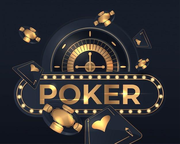 Casino poker karten und roulette rad design Premium Vektoren