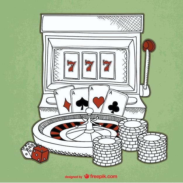 Casino-skizze hintergrund Kostenlosen Vektoren