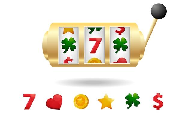 Casino-spielautomat mit einer reihe von slot-icons Premium Vektoren