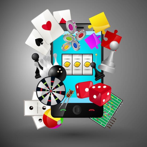 Casino-spiele auf dem smartphone Premium Vektoren