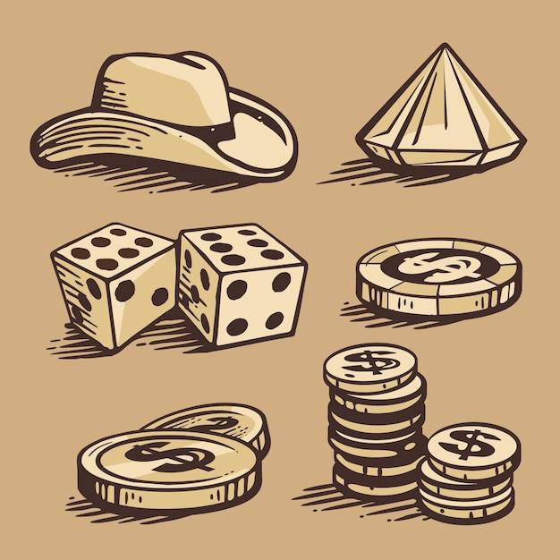 Casino symbole und stetson. set vintage handgemachte illustration. Premium Vektoren
