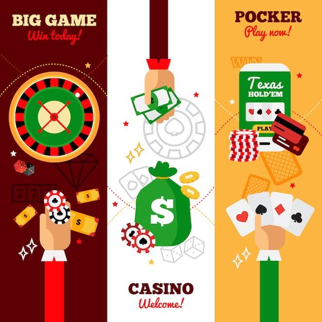 Casino vertikale banner design Kostenlosen Vektoren