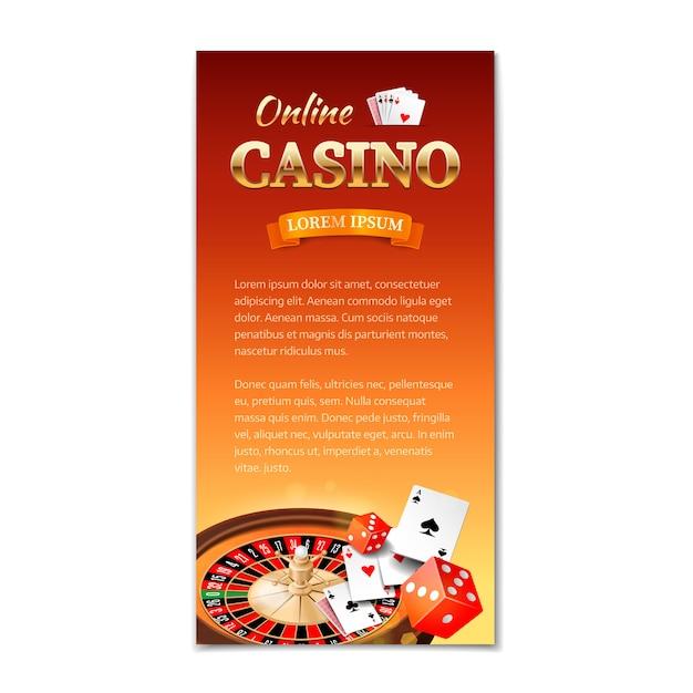 Casino. vertikale fahne, flieger, broschüre über ein kasinothema mit rouletterad, spielkarten und würfeln Premium Vektoren