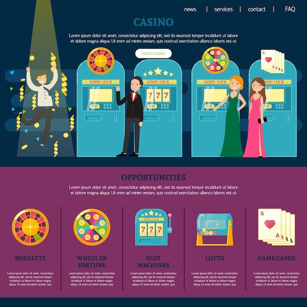 Casino webseitenvorlage Kostenlosen Vektoren
