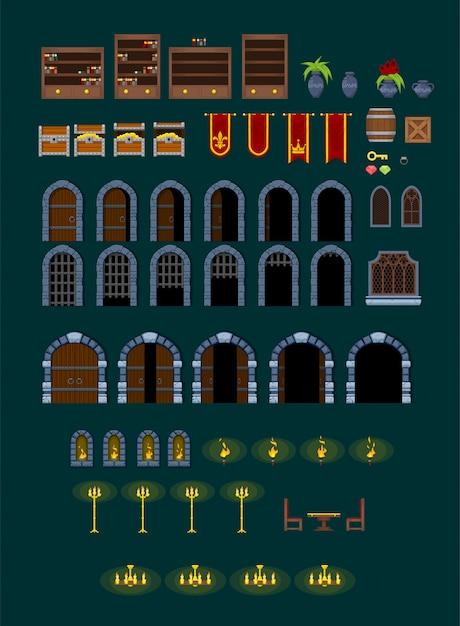 Castle game dekorationen Premium Vektoren