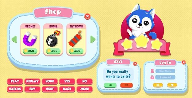 Casual cartoon kids game benutzeroberfläche shop, login und exit-menü pop-up mit sternen, knöpfen und katze Premium Vektoren