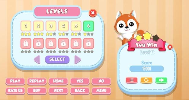 Casual cartoon kids game ui level auswahl und sie gewinnen menü pop-up mit sternen, knöpfen und katze Premium Vektoren