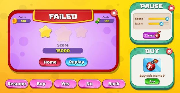 Casual cartoon kids game ui level fehlgeschlagen, pause und kaufmenü popup mit sternenknöpfen Premium Vektoren